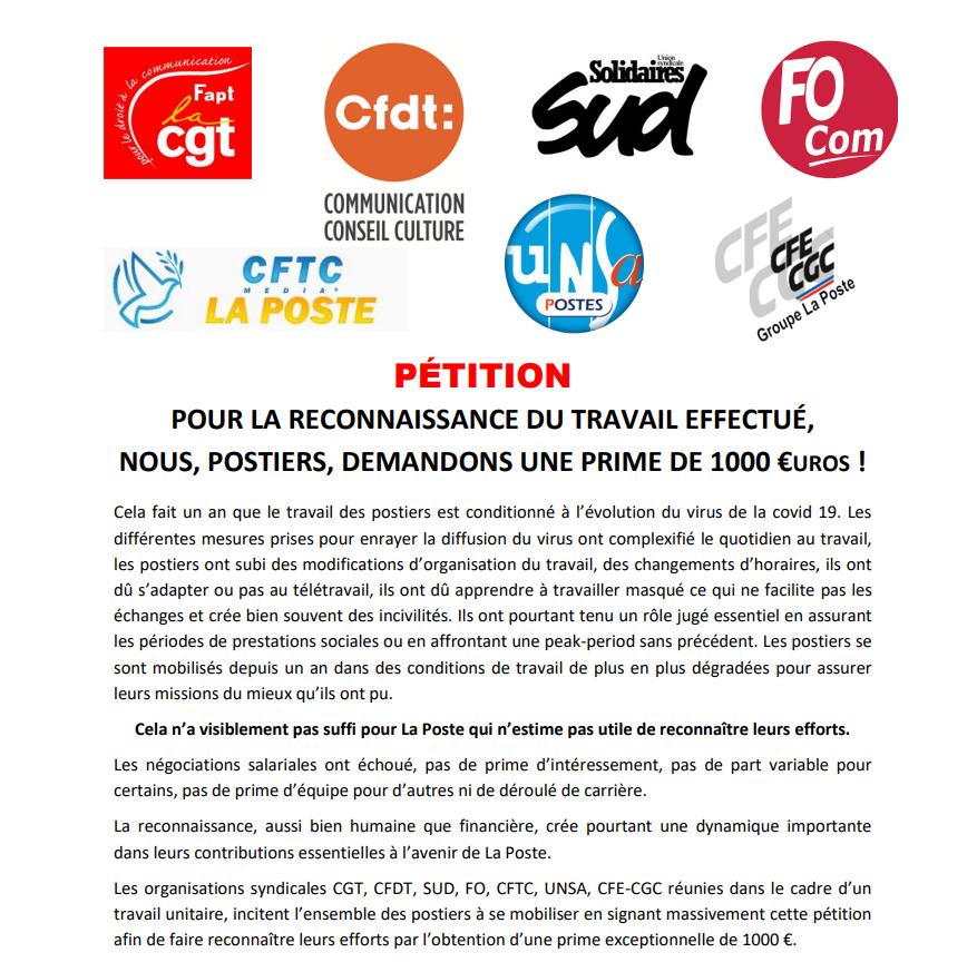 La Poste – pétition unitaire pour la reconnaissance du travail effectué.  NOUS, POSTIERS, DEMANDONS UNE PRIME DE 1000 €UROS !