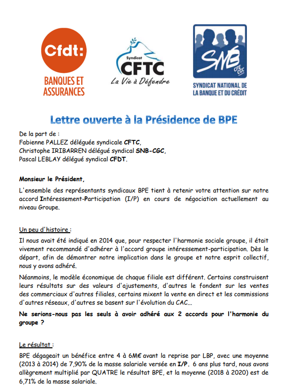 Lettre ouverte au président de la BPE
