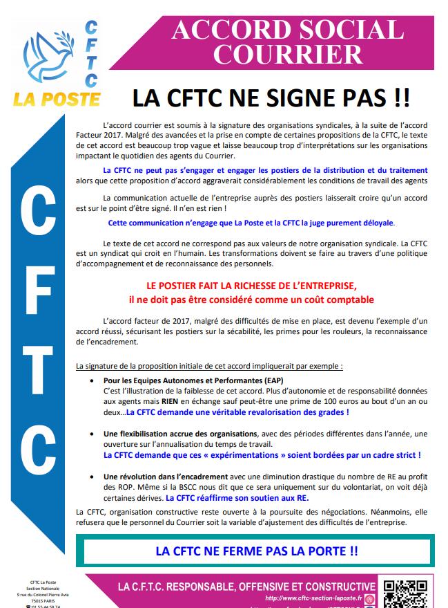 ACCORD SOCIAL COURRIER : LA CFTC NE SIGNE PAS !