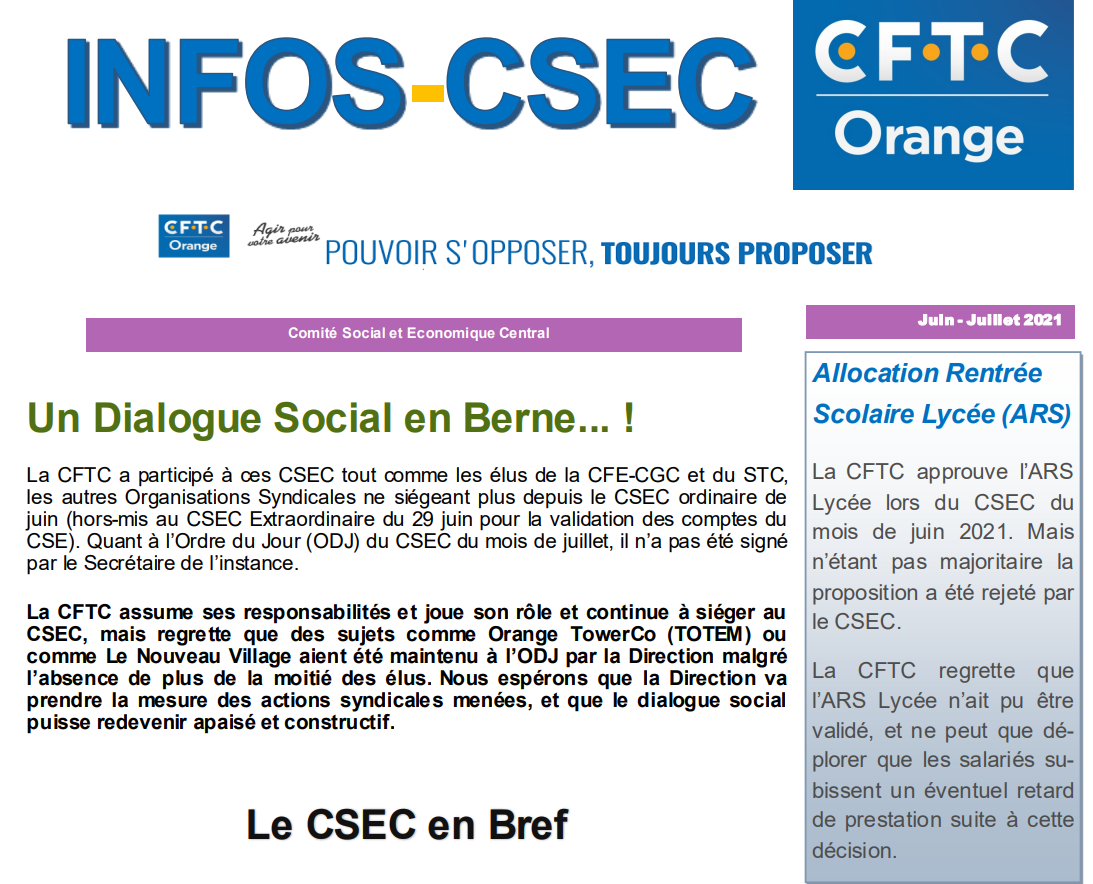 CSEC Orange : un Dialogue Social en Berne