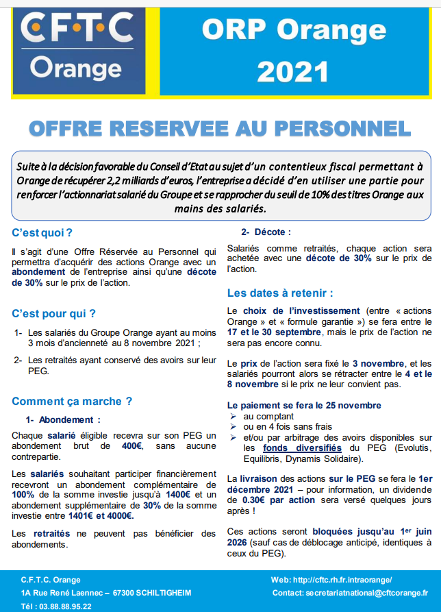 ORP Orange 2021 : OFFRE RESERVEE AU PERSONNEL